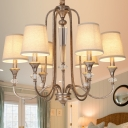 3/6 Lights Tapered Shade Chandelier Traditional Fabric Metal Suspension Light in White for Foyer