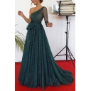 Women's Fashion Sexy One Shoulder Long Sleeve Backless Sparkling Plain Bow-Tied Waist Floor Length A-Line Dark Green Evening Dress
