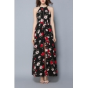 Women's Halter Neck Sleeveless Floral Printed Split Detail Maxi A-Line Slip Dress