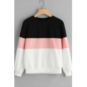 Hot Fashion Colorblock Round Neck Long Sleeve Sweatshirt