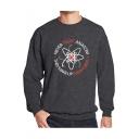 Fashion Floral Letter NEVER TRUST ANATOM Printed Crewneck Long Sleeve Pullover Sweatshirt