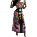 Women's Hot Fashion Off The Shoulder Tribal Printed Backless Bodycon Maxi Dress