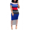 Hot Fashion Round Neck Short Sleeve Stripes Printed Mesh Patch Bodycon Maxi Dress