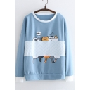 Cartoon Asleep Cats Fish Bone Printed Contrast Trim Round Neck Long Sleeve Sweatshirt