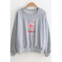 Cartoon Floral Flamingo Print TROPICAL Letter Round Neck Long Sleeve Cotton Sweatshirt