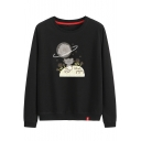 Cartoon Cat Star Planet Floral Print Cotton Round Neck Long Sleeve Sweatshirt