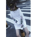 New Stylish Floral Print Embroidered SKY Letter Round Neck Long Sleeve Oversized Sweatshirt