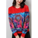 Stylish Tribal Printed Round Neck Long Sleeve Pullover Sweatshirt for Women