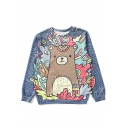 Cute Cartoon Bear Printed Basic Long Sleeve Blue Relaxed Fit Sweatshirt