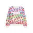 Funny Cute Cartoon Heart Ice Cream Letter DAMN Printed Round Neck Long Sleeve Pullover Sweatshirt