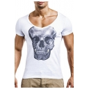 Men's Sexy V-Neck Short Sleeve Skull Printed Slim Fitted T-Shirt