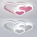 Kindergarten Heart Shape LED Flush Light Metal Cute Pink/White Ceiling Light in Warm/White