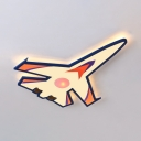 Cartoon Airplane Kid Bedroom Ceiling Lamp Metal Creative LED Flush Ceiling Light in Warm/White