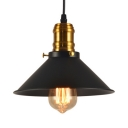 1 Light Cone Hanging Light 1/2/3 Pack Industrial Metal Suspension Light in Black for Factory