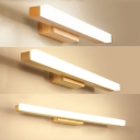 Wood Linear LED Vanity Lighting 16/23.5/31.5 Inch Nordic Style Waterproof Wall Light in Beige for Dressing Room