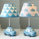 Police Car Kid Bedroom Desk Light Resin 1 Light Dimmable Cartoon Study Light in Blue