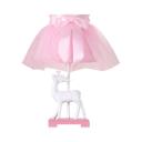 Fabric Dress Deer Study Light 1 Light Cute Dimmable LED Desk Lamp in Pink for Girl Bedroom