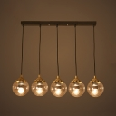 5/6 Lights Orb Pendant Light with Linear/Round Canopy Modern Glass Island Lamp in Black for Cafe