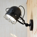Hallway Foyer Bowl Wall Light Metal 1 Head Industrial Black Rotatable Sconce Light with Wire Frame