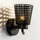 Vintage Style Hollow Bucket Sconce Light 1 Light Metal Wall Lamp in Black for Hallway Kitchen