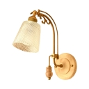 Simple Style Bucket Shade Wall Sconce Lattice Glass 1 Light Brass Sconce Light for Study Room