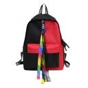 Chic Women's Ribbon Embellishment Colorblock Canvas Varsity Backpack 40*28*12 CM