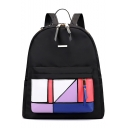 Stylish Colorblock Geometric Patched Black School Bag Casual Backpack 23*16*36 CM