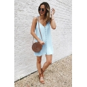 Womens Summer Hot Fashion Simple Plain Frog Button Front Sleeveless Mini Cami Dress