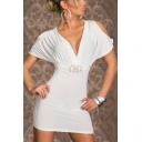New Stylish Sexy V-Neck Cold Shoulder Short Sleeve Simple Plain Mini Bodycon Club Dress