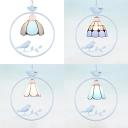 Living Room Cone/Domed Ceiling Pendant Glass 1 Light Tiffany Modern White Ring Hanging Light