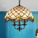 Grid Dome Cafe Pendant Light with Fake Candle Glass 3 Lights Antique Style Hanging Light in Beige