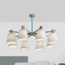 Metal Tapered Shade Pendant Light 3/6/8 Lights Nordic Style Chandelier in Sky Blue/Yellow for Bedroom