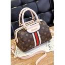 Fashion Classic Paint Colorblock Stripes Patched Work Satchel Tote Handbag 23*13.5*15 CM