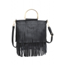 Trendy Solid Color Top Handle Fringed Shoulder Bag Satchel Handbag 24*7*22 CM
