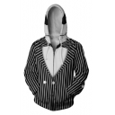 Jack Skellington 3D Comic Cosplay Costume Black Long Sleeve Zip Front Hoodie