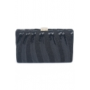 New Stylish Plain Sequin Embellishment Metal Lock Glitter Evening Clutch 19.3*11.5 CM
