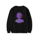 Vaporwave Cool Stylish Figure Printed Basic Round Neck Long Sleeve Casual Loose Sweatshirt