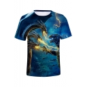 King of the Monsters 3D Lightning Dragon Pattern Blue Short Sleeve Tee