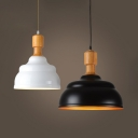 Simple Style Black/White Pendant Light Barn Shade One Light Metal Hanging Light for Bar Cafe