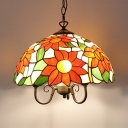 Tiffany Rustic Style Hanging Light Sunflower 16 Inch Stained Glass Pendant Light for Living Room
