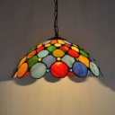 Multi-Color Dot Pendant Light 1 Light 12 Inch Antique Style Glass Hanging Light for Cafe
