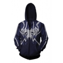 Hot Popular Long Sleeve Zip Placket Patter Blue Hoodie
