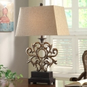 Trapezoid Shade Office Table Lamp Wrought Iron 1 Light Antique Style Reading Light in Aged Brass