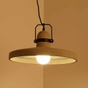 Retro Loft Round Hanging Lamp One Light Cement Suspension Light in Gray for Cafe Bar