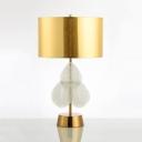 Modern Leaf Decoration Desk Light 1 Light Crystal Table Light in Gold/Off-White for Bedroom