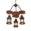 Industrial Black Kerosene Hanging Light 3 Lights Wood Chandelier for Restaurant Cloth Shop