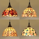Beads/Flowers Restaurant Pendant Lamp Shell 8 Inch Rustic Style Hanging Light in Beige