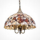 Umbrella Shade Ceiling Pendant with Desert Rose Antique Style Shell Hanging Light for Restaurant