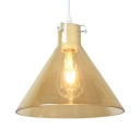 Corridor Conical Shade Pendant Light Amber Glass 1 Light Ceiling Lamp with White Canopy