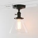 Clear Glass Funnel Shade Flush Light 1 Light Industrial Ceiling Light in Black for Shop Bar